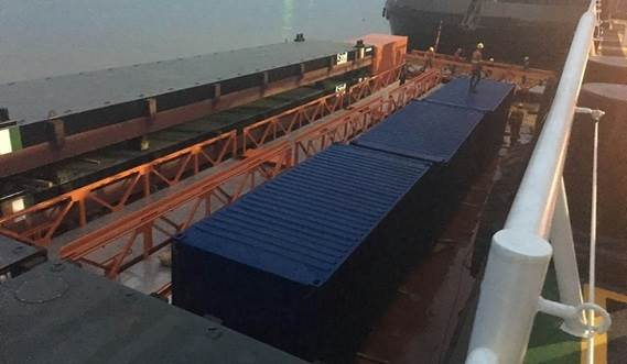 Pontoon, ramps and railings on transport to Ivory Coast