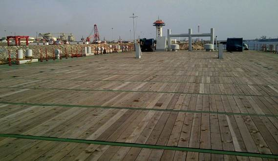Damen Pontoons have large wooden deck for all kind of purposes