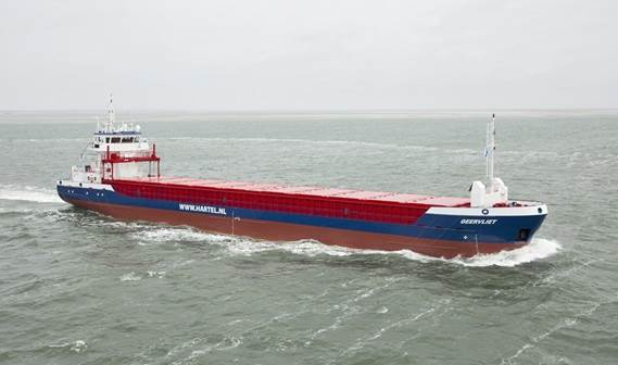 As the first of a series of two, the 3,800 tons vessel 'Geervliet' was delivered in May 2011 to Hartel Shipping in the Netherlands