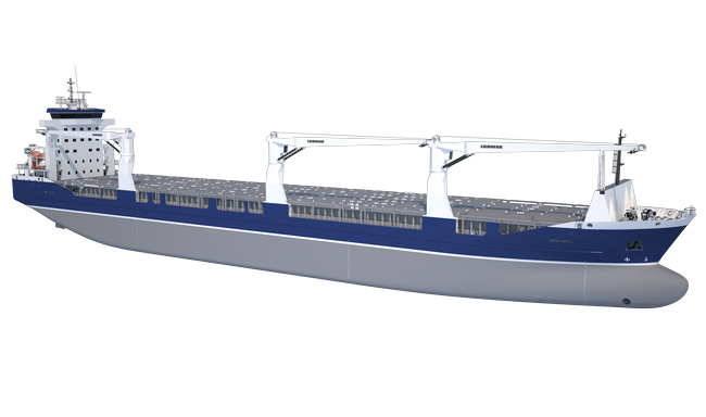 Combi Freighter can be equipped with wire luffing or hydraulically-operated cranes for ship handling of cargoes
