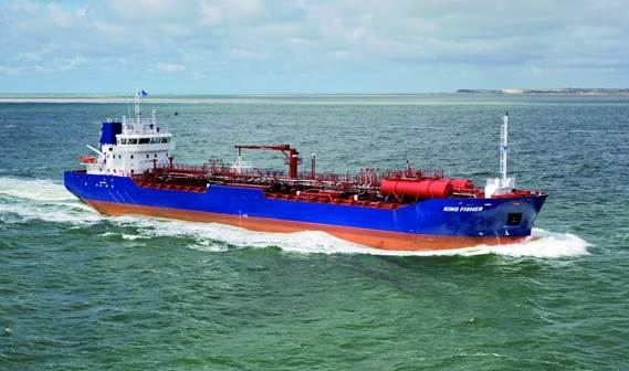 The Damen Tanker 8000, yard number 9393 'King Fisher', was delivered to her owner De Opfeart