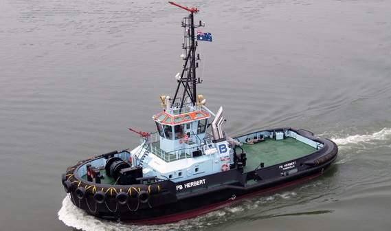 With the delivery of 'PB Herbert', another ASD 2810 Tug, PB Towage Australia completed its new fleet in Townsville, Queensland, Australia.