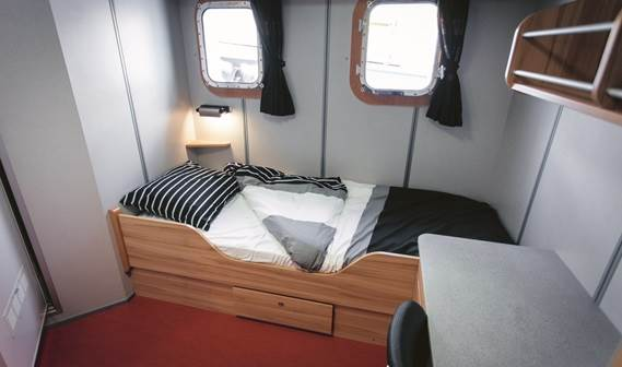 Large, very comfortable, air-conditioned cabins with double-walled panelling are provided.
