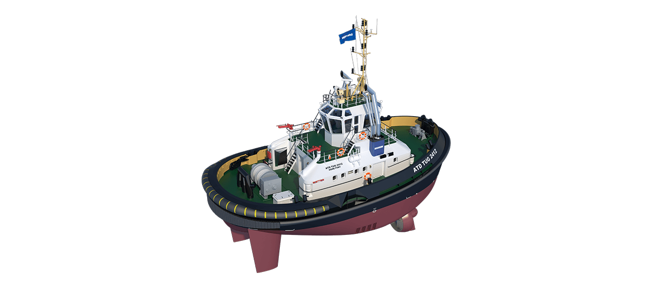 ATD Tug 2412 Twin Fin is a heavily built vessel with rigid foundations, extra plate thickness, extra brackets and extra fendering.