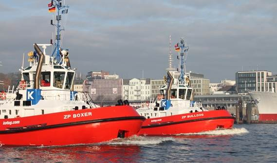 KOTUG International in the Netherlands took delivery of the Damen ATD Tugs 'ZP Boxer' and 'ZP Bulldog' for their operations in the German Port of Hamburg.