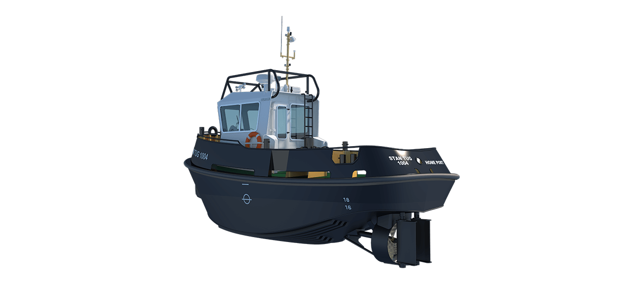 Stan Tugs are designed for towing, pushing, push-pull, berthing, anchor handling, hydrographical survey, line handling, firefighting, salvage, diving support and pollution control in all waters