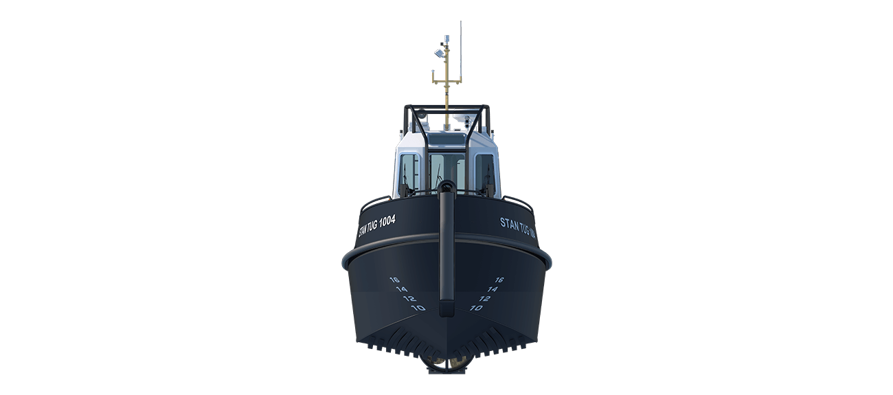 Damen Stan Tug 1004 is a heavily built vessel with rigid foundations, extra plate thickness, extra brackets and extra fendering