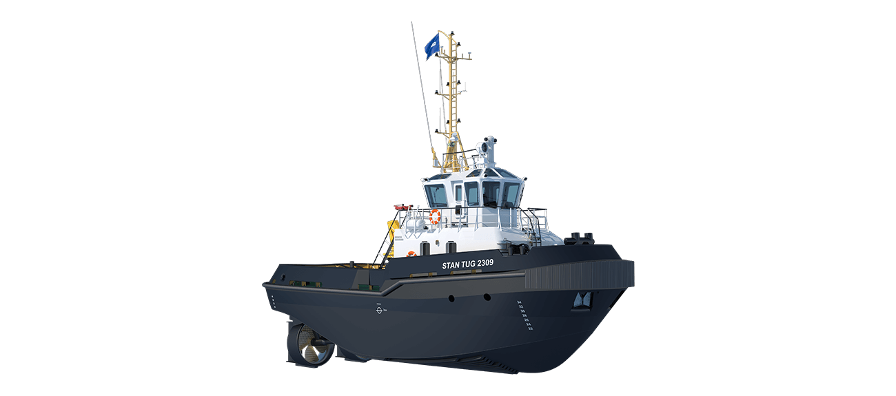 Damen Stan Tug 2309 is a heavily built vessel with rigid foundations, extra plate thickness, extra brackets and extra fendering