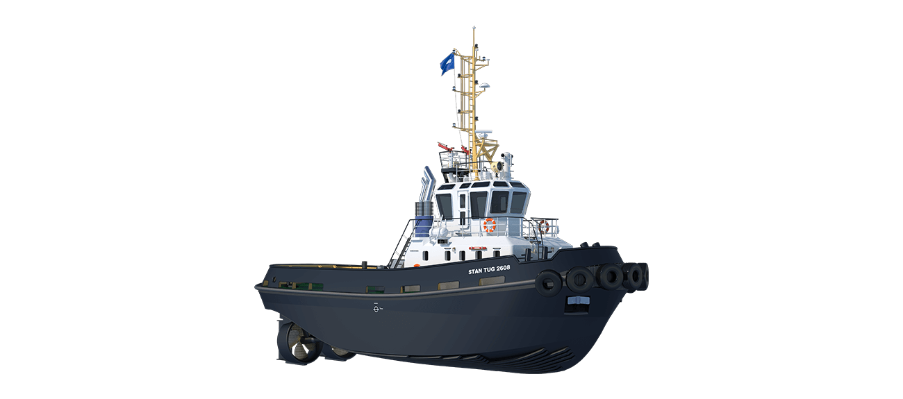 Damen Stan Tug 2608 is a heavily built vessel with rigid foundations, extra plate thickness, extra brackets and extra fendering