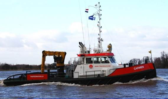 the Damen Shoalbuster 2308 'Carmen' was handed over to Mr. Wim Crum, Managing Director of Damen Marine Services